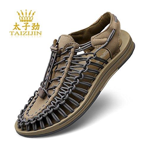 Xing Lin Chaussures DÉté Hommes Nouvelles DÉté Sandales Chaussures De Plage Hommes Chaussures Occasionnels DÉté Tendance Baotou Sandales Hommes Tissage gray