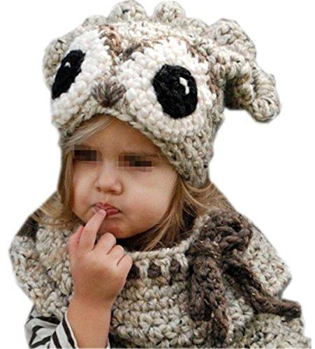 AOGD Winter Wolle Gestrickte Hüte Baby Mädchen Schals Kapuze Mönchskutte Beanie Mützen Owl Lätzchen Zweiteiliger Warmer Nackenschutz Kindermützen (Owl-hut-schal)