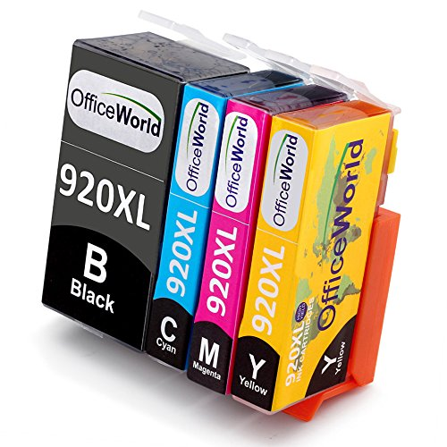 Preisvergleich Produktbild OfficeWorld Ersatz für HP 920XL Druckerpatronen Hohe Kapazität Kompatibel mit HP Officejet 6500 6000 7000 7500 Drucker (1 Schwarz, 1 Cyan, 1 Magenta, 1 Gelb)