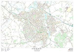 47 x 33.25 Paper Wall Map Milton Keynes