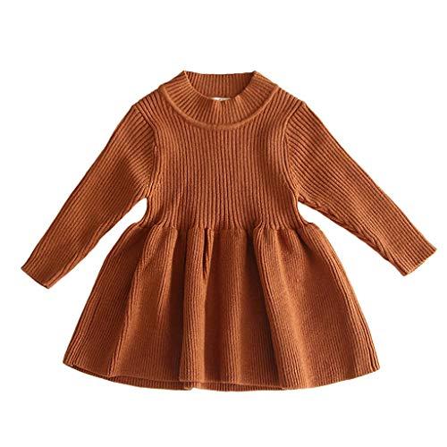 Beikoard Vestido Niña,Vestido suéter cálido sólido
