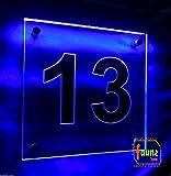 LED Hausnummer, faunz Leuchtschild, Wegschild ' 13 ' faunzcom Blau