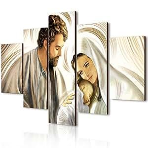 Vogue quadro su legno 5 pezzi Nativity Brown 66x115 cm
