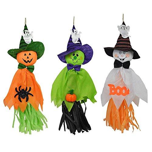 een Dekorationen Ghosts Puppe Anhänger, Dekorative Elemente Der Kürbisse, Geister und Spinnen, für Haus, Bars, KTV, Supermarkt Dekorationen (3-Pack) (Halloween Ghost Dekorationen)
