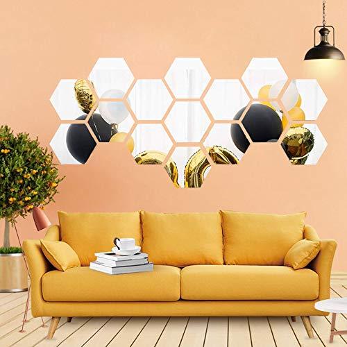 Adesivi da parete a specchio esagonale, 12 pezzi, di grandi dimensioni, in acrilico, per fai da te, decorazione per la casa, soggiorno, camera da letto, divano, sfondo TV L