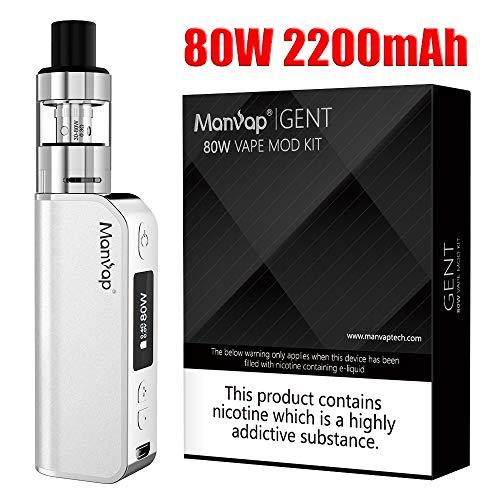 Manvap Gent 80W Sigaretta Elettronica Box Mod Svapo Kit, Ricaricabile 2200mAh Batteria/Top Fill 2.0ml Atomizzatore,No Nicotina, No Liquido Elettronico(Argento)
