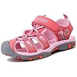 katliu Geschlossene Sandalen Mädchen Outdoor Sport Trekking Wander Sommer Schuhe für Kinder,Pink 35