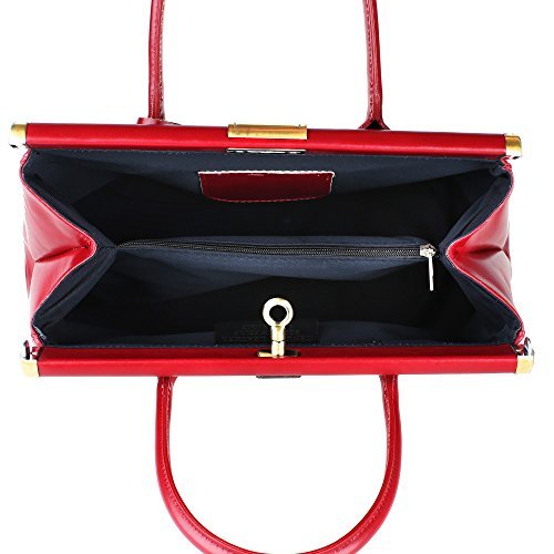 Borsa a Mano Bauletto da Donna con Tracolla in Vera Pelle Made in Italy Chicca Borse 35x28x16 Cm Rosso