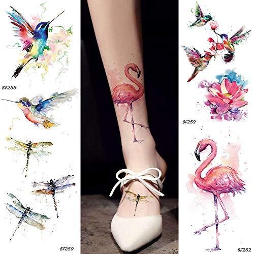 KAMRL Temporäre Tattoo-Aufkleber Aquarell Gefälschte Flamingo Temporäre Tätowierung Aufkleber Kolibri Libelle Tatoos Wasserdicht Art Tattoo 10.5X6Cm