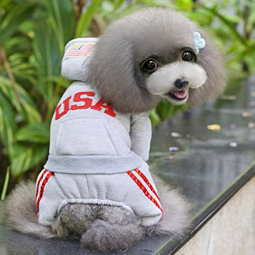 Imported USA Cotton Coat Jacket Hoodie Jumpsuit Small Boy Girl Dog Clothes XL Grey