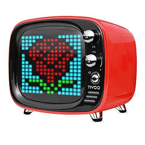 CE-LXYYD Divoom Tivoo Pixel Bluetooth-Lautsprecher, tragbarer drahtloser 6-W-Stereo-Boom-Basslautsprecher für den Innen- und Außenbereich, 8-stündige Spielzeit mit 3000-mah-Powerbank, langlebig,red (Dj-stereo-system-mit Beleuchtung)