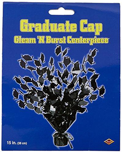 Beistle Graduate Cap Gleam 'N Burst Mittelstück 1 Teil Pkg of 1 schwarz - High School Spirit Star