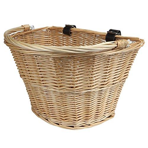 Tourbon vorne Lenkeradapter Wicker Fahrradkorb mit braunen Gurten Starke leicht - Basket #1 (Bibliothek Korb)