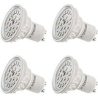 SEBSON® 4 x GU10 6W LED (Equivale de 40W - Calido Blanca - 500lm - SMD LED - 110º Haz de luz - 230V AC)