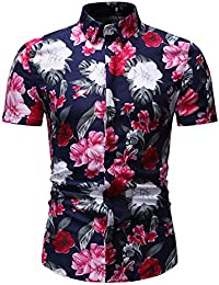 FidgetGear Men's Shirt Summer Flower Printing Lapel Short Sleeve Male Casual Shirt