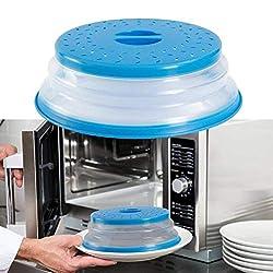 SZRWD Mikrowellenabdeckhaube, Microwave Plate Cover/Mikrowellenabdeckun, Collapsible Colander für Obst, Gemüse, ungiftig, ofen- und spülmaschinenfest (Blau)