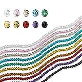 1000 perles - En forme de rondelles et briolettes - En verre transparent - Perles d'espacement pour la fabrication de bracelet, collier, bijoux, projets créatifs et de bricolage - 10 couleurs...