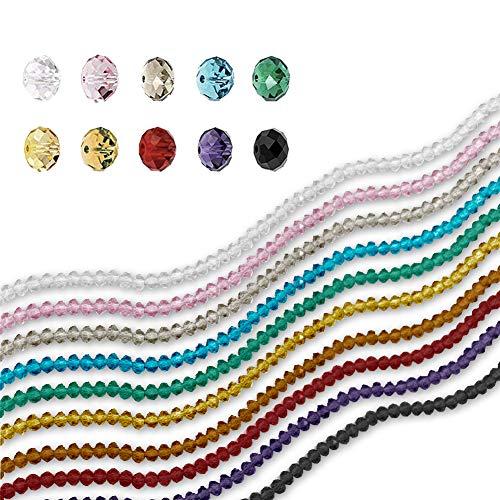 Plastikbeutel 10Farben 6mm Dekorative briollete Perlen, Kristall Rondelle Perlen, Great für DIY Craft Project, Armband Halskette Schmuckherstellung