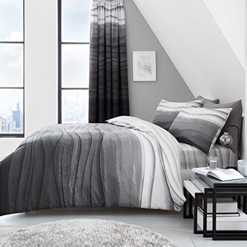 NWT Bettdeckenbezug mit Kissenbezügen, Premium-Designs 2019, Fresh Kollektion, Größe: King-Stil: Wellen, Ombre-Farbe: Grau -