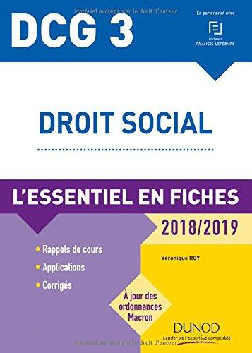DCG 3 - Droit social - 2018/2019 - L'essentiel en fiches par Véronique Roy