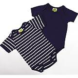 Baby Kurzarm Bodys, 2-teiliges Unterwäsche Set - dunkellila uni + weiße Ringelstreifen - 2er Set Sommer Body Zweierpack für Mächen od. Jungen, 100% Öko-Tex Baumwolle von DIMO