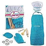 Forweilai 11 Stücke DIY Gebäck Kuchen Backen Formen Werkzeuge Spielzeug Kit Bake Cutter Keks Nudelhölzer Schürze Backen Set für Kinder - (Blue)