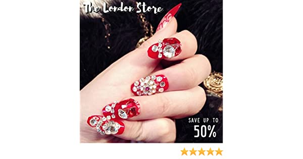 The London Store Red Bridal Artificial Nail Extension Ready Made