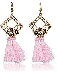 Borla flecos pendientes, Ularma Mujeres Estilo Vintage Borla Dangle Stud Pendientes Moda Joyería Color Cobre Flores Decoración