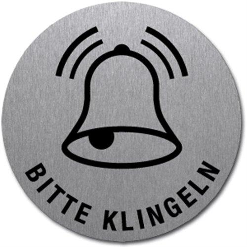 Schild Bitte Klingeln | Symbol und Text | Edelstahl selbstklebend 5 cm (Türschild, Edelstahlschild) wetterfest (Symbol Klingel)
