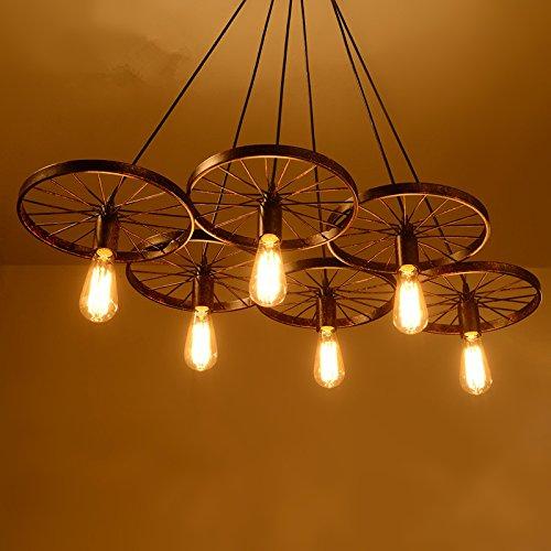 Lámpara de rueda antigua Creative Personality Retro Restaurant Bar Am