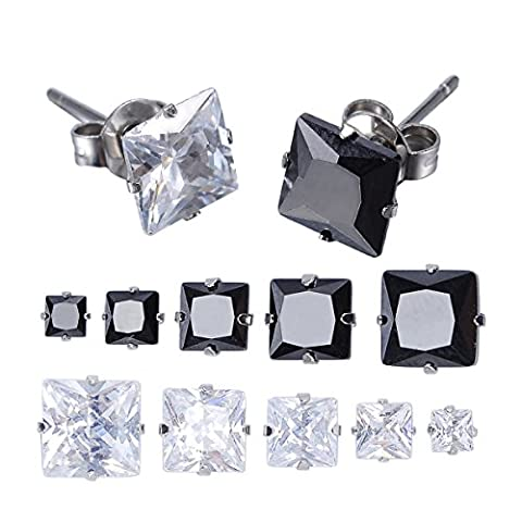 HOUSWEETY Jewellery Women's Stainless Steel Square Clear Cubic Zirconia Diamond Rhinestone Stud Earring (10 Pairs) Color Black Silver