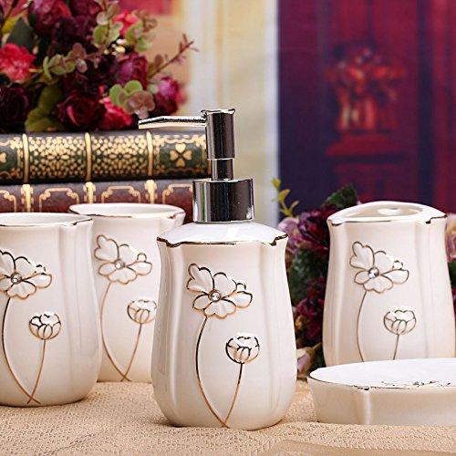 XXN-In stile europeo bone china cinque pezzi di ceramica prodotti per bagno suite bagno-bagno spazzolino (Bone China Crema)