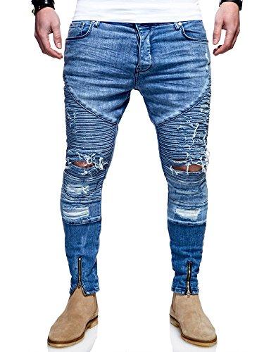 MT Styles Herren Biker Jeans Zip Hose JN-3180 Hellblau