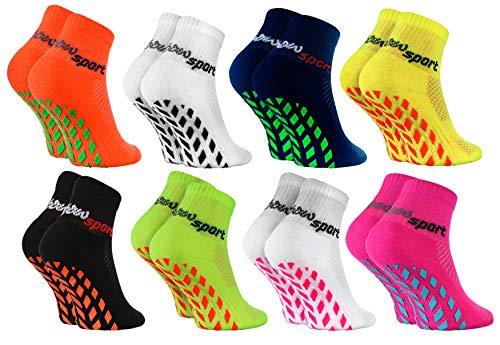 Rainbow Socks - Jungen Mädchen Neon Sneaker Sport Stoppersocken - 8 Paar - Mehrfarbig - Größen: EU 30-35