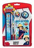 Undercover FSTU0211 - Feuerwehrmann Sam Schreibset mit Bleistift, Radierer, Spitzer, Lineal und Notizblock, 5 teilig