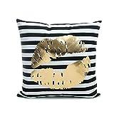 ODN Weiche Bronzing Kissenbezüge Kissen Auto Sofa Home Dekor Kissenbezug 45 x 45CM (Streifen)