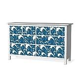 creatisto Klebefolie Sticker Aufkleber für IKEA Hemnes Kommode 8 Schubladen | Möbel überkleben Verschönerung Möbeldeko | Modernes Wohnen Wohnzimmer-Dekoration Dekor | Design Motiv Große Welle