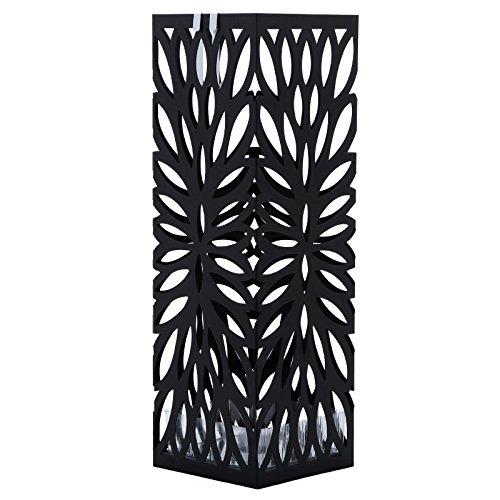 Songmics porta ombrelli portaombrelli in ferro quadro con gancini e vaschetta scolapioggia 15,5 x 49 x 15,5 cm nero luc48b