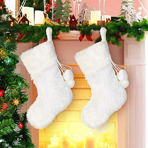 2 Piezas 20 Pulgadas Medias de Navidad de Piel Falso Blanco Nevado...