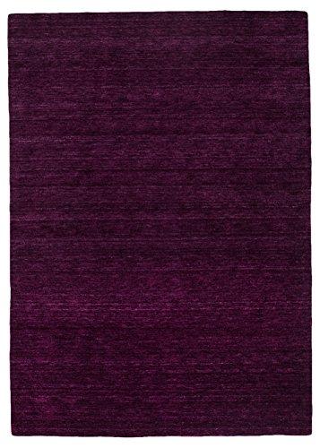 Morgenland Gabbeh Teppich Lila UNI Einfarbig Handgewebt Schurwolle 400 x 80 cm Läufer -