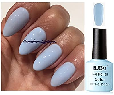 Bluesky 80596 Creekside Light Baby Blue Pastel Nail Gel Polish UV LED Soak Off 10ml PLUS 2 Luvlinail Shine Wipes