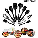 10 Piece Silicone Kitchen Utensils Set Heat Resistant Cooking Utensils Safety Health Nonstick Anti-Bacterial Baking Tool Sets Dishwasher Safe By Phroboxl. (black)