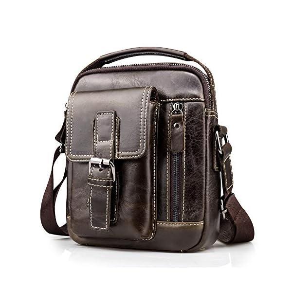 51SsMPHzN%2BL. SS600  - BAGZY Vintage Bolso Hombre Bolso de Hombre Bandolera Cuero Crossbody Bolso de Mano Bolsa de Cuero Messenger Hombre Piel…