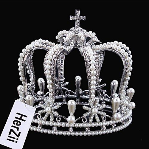 HerZii novia Tiara Corona Tocado rhiestone Pearl Tiaras y coronas accesorios para el pelo de cristal para bodas