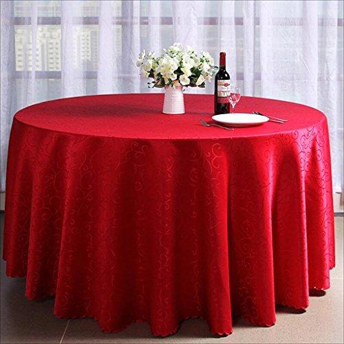 Tao Hotel Restaurant Runde Tischdecke Jacquard Stoff europäischen Luxus Hochzeit Tischdecken Home Küche Dekoration Tisch Decken (Farbe : Rot, größe : 110.2inch)