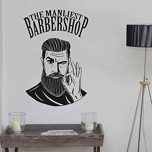 keletop Die Manliest Barbershop Wandaufkleber Vinyl Fensteraufkleber Decor Barber Shop Fashion Style Mann Friseursalon Haarschnitte Wandbild 57 * 85 cm