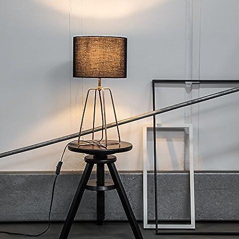 Moderna Lámpara de mesa con tela y estructura en cobre, 1x E27Max. 60W, metal/textil,
