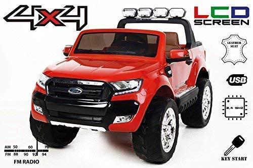 RIRICAR Ford Ranger Wildtrak 4X4 LCD Luxury, Coche eléctrico para niños, 2.4Ghz, Pantalla LCD, Rojo, 2x12V, 4 X Motor, Mando a Distancia, Dos Asientos en Cuero, Ruedas Blandas de EVA, Bluetooth