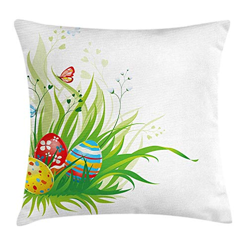 OQUYCZ Easter Throw Pillow Cushion Cover, Colorful Different Patterned Eggs on Green Grass Fresh Meadow Flowers Butterflies, Decorative Square Accent Pillow Case, 18 X 18 inches, Multicolor Butterfly Meadow Box