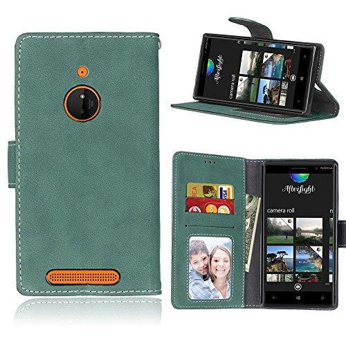MAXJCN Telefonkasten Für Nokia Lumia 830, Retro Stil Einfarbig Premium PU Leder Brieftasche Fall Flip Folio Schutzhülle Abdeckung Mit Kartensteckplatz/Ständer, Modisch langlebig. (Farbe : Grün) - Geldbörse Lumia 830 Fall Nokia